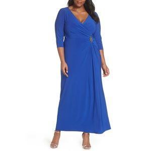 Wrap Look A-Line Gown  ALEX EVENINGS  Blue Dress